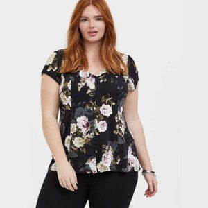 NWOT Torrid Floral Button & Corset Back Blouse